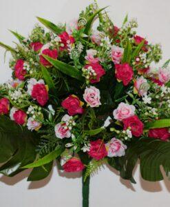 Искусственные цветы-Розочка открытая с пластмасками не прес R-811