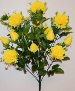 Искусственные цветы-Шар хризантема с тюльпаном не прес R-801