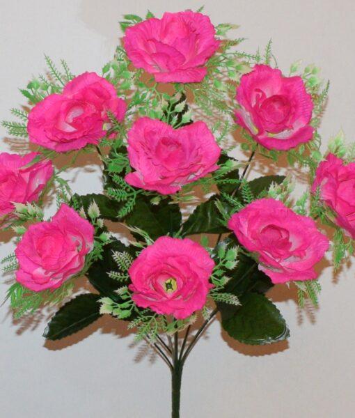 Искусственные цветы-Роза с розеткой 9-ка не прес R-910