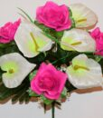 Искусственные цветы-Роза с розеткой кала атлас 9-ка R-648