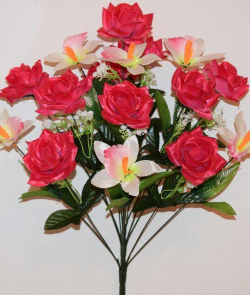Искусственные цветы-Роза острая с ирисом не прес R-746