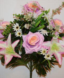 Искусственные цветы-Роза открытая+лилия с ромашками не прес R-841