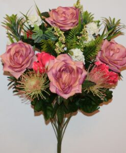 Искусственные цветы-Роза открытая+ирис с ёжиками не прес R-842