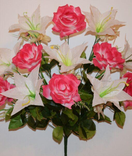 Искусственные цветы-Роза с лилией 13-ка R-887