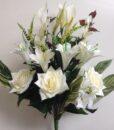 Искусственные цветы -Роза+лилия с азалией белая непрес R-899