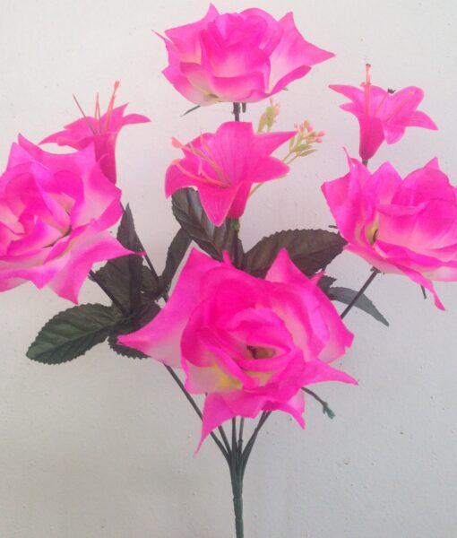 Искусственные цветы-Роза с колокольчиком пластмасовым 7-ка R-650