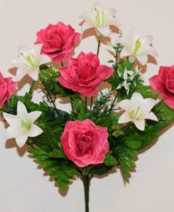 Искусственные цветы-Роза с пластмасовыми колокольчиками R-933