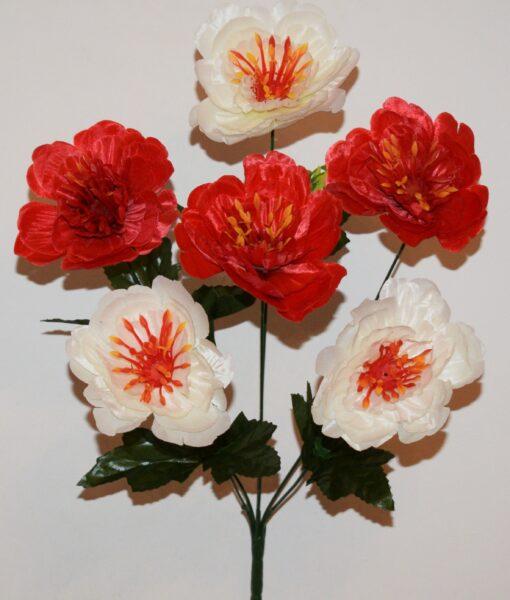 Искусственные цветы-Пион атлас 6-ка R-931