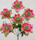 Искусственные цветы-Лотос атласный с листом 6-ка R-940