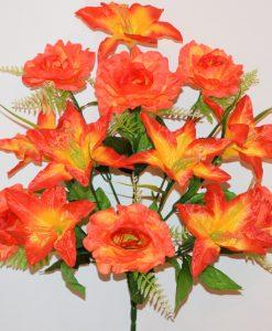 Искусственные цветы-Роза с лилией новая 13-ка R-936