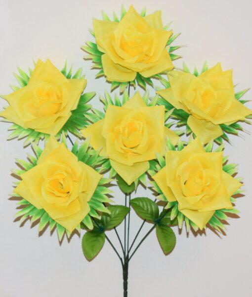 Искусственный цветок -Роза открытая с пальмовым листом 6-ка не прес R-970