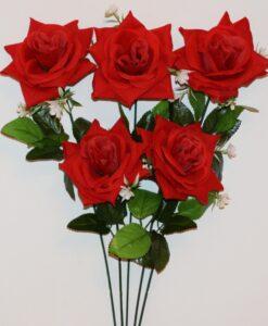 Искусственные цветы- Ветка Роза бархат с пластмаской B-94