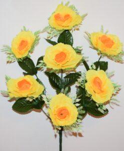 Искусственные цветы-Роза с розеткой 7-ка не прес R-742