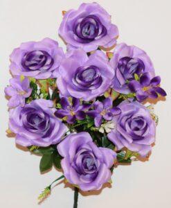 Искусственный цветок -Роза открытая+лилия с пластмасками не прес R-974