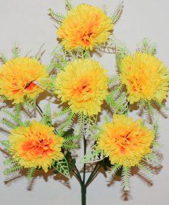 Искусственный цветок-Гвоздика ёжик с розеткой 6-ка R-1003