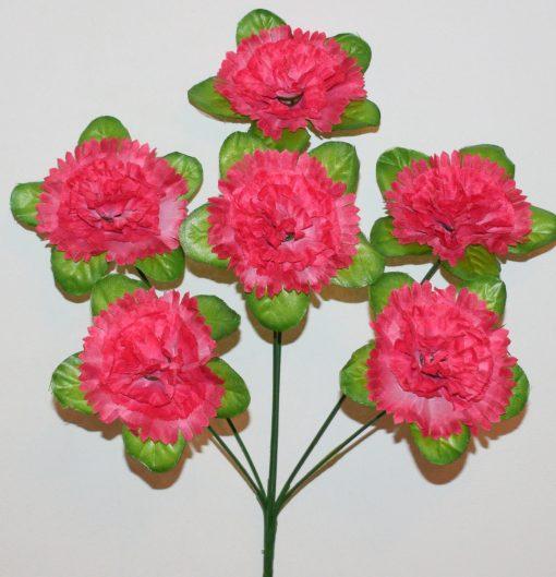 Искусственный цветок-Гвоздичка лист 6-ка R-1005