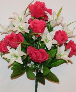 Искусственные цветы-Роза с белой лилией не прес R-1087