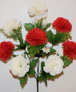 Искусственные цветы-Гвоздика красно-белая 9-ка R-1094