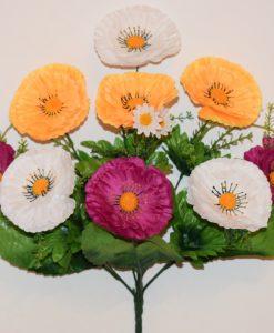 Искусственные цветы-Маргаритка микс атласная 9-ка R-1101