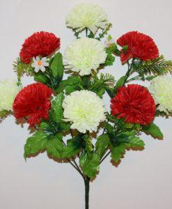 Искусственные цветы-Шар Хризантема красно-белая 9-ка R-1104