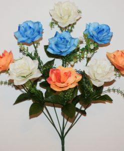 Искусственные цветы-Роза микс острая 9-ка R-1099