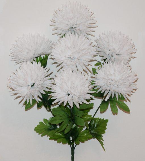 Искусственные цветы-Хризантема белая 7-ка не прес R-1146