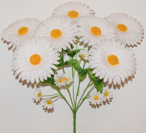 Искусственные цветы-Ромашка с детками белая 7-ка R-1122