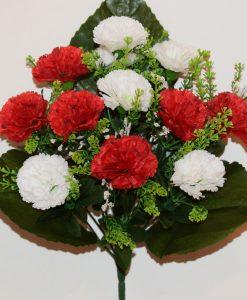 Искусственные цветы-Гвоздика красная с белой 12-ка R-1129