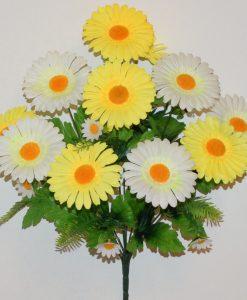 Искусственные цветы-Ромашка цветная с зеленью 11-ка R-1152