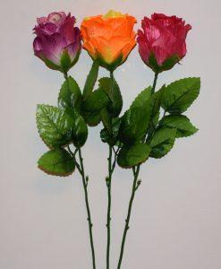 Искусственные цветы- Ветка Роза бутон лущоный атлас B-87
