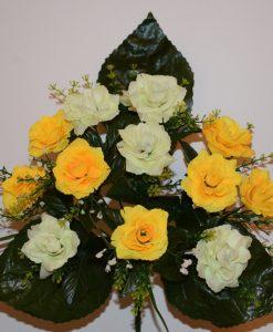 Искусственные цветы - Роза микс с пластмаской R-105