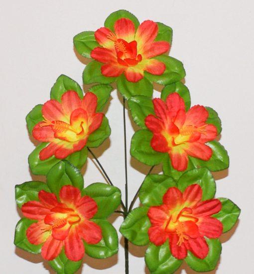 Искусственные цветы - Мальва-крупный лист с кукурузкой 5-ка R-16