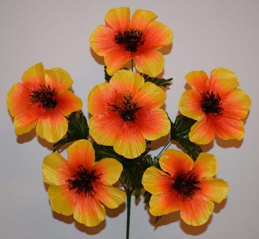Искусственные цветы —Мальва большая с черной срединой 6-ка R-348