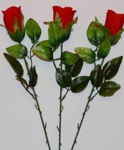 Искусственные цветы- Ветка Розочка бархатная бутон B-45