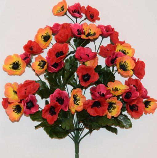 Искусственные цветы -Мак микс цветной букет R-751