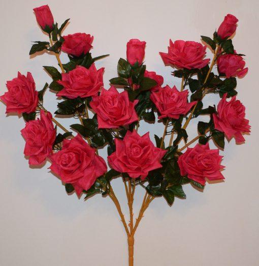 Искусственный цветок - Роза дерево 16-ти головая R-554