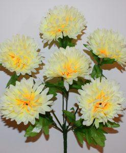 Искусственные цветы- Шар хризантема с зеленью 6-ка R-896