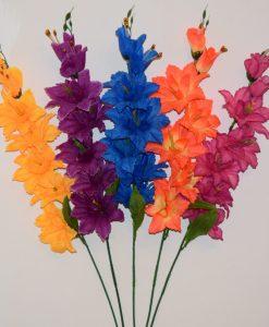 Искусственные цветы- Ветка Гладиолус-звездочка цветной B-90