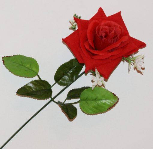 Искусственные цветы- Ветка Роза бархат с пластмаской большая B-88