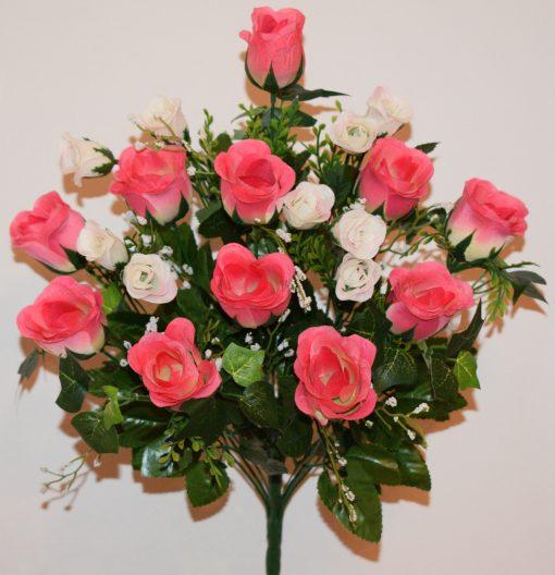 Искусственные цветы-Роза бутон с бутончиками не прес R-1084