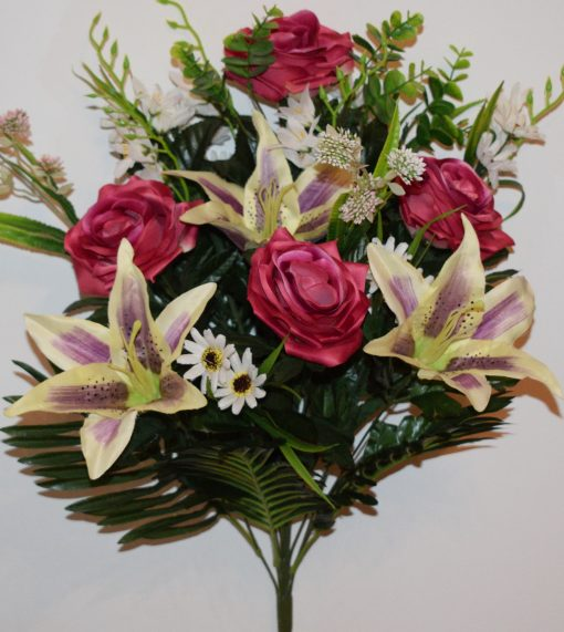 Искусственные цветы-Роза открытая+лилия с ромашками не прес R-1067