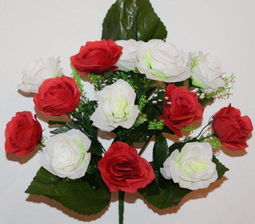 Искусственные цветы-Роза красно-белая с кашкой 13-ка R-1041