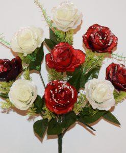 Искусственные цветы-Роза атласная с пластмасками 9-ка не прес R-1159